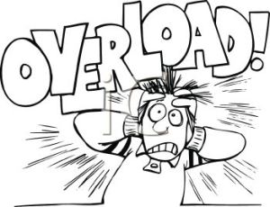 0511-1009-1319-0462_Black_and_White_Cartoon_of_a_Stressed_Out_Guy_with_the_Word_Overload_clipart_image