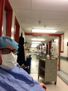 Erik waiting for the c-section to begin.