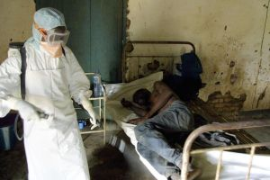 Red Cross agent disinfected a hospital room